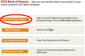 eCheques menu - Click on add